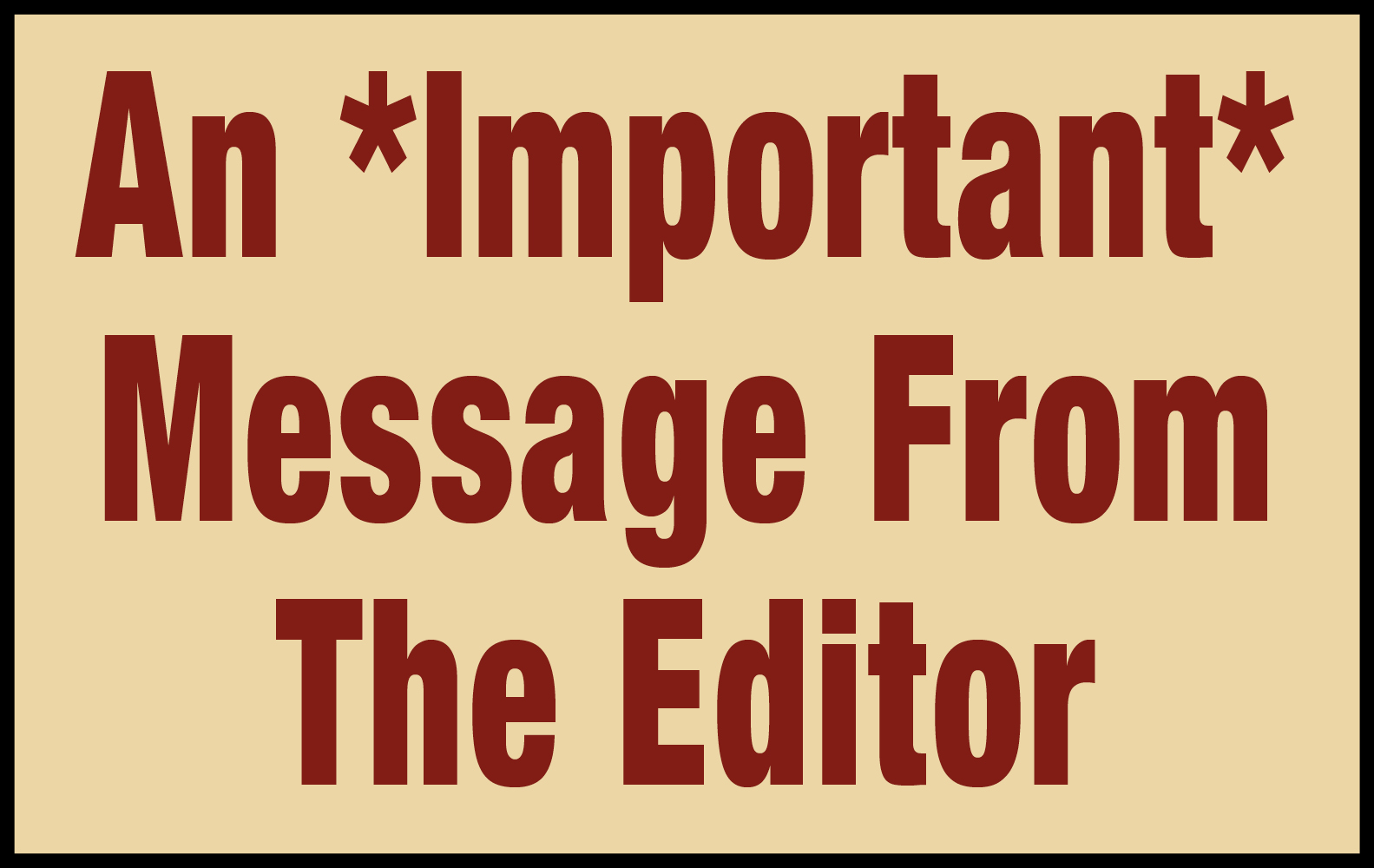 message from editor